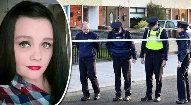Gardai look for evidence after Cathy Ward (inset) was killed