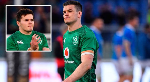 Johnny Sexton and (inset) Jacob Stockdale