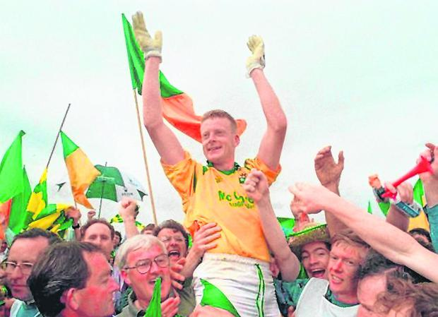 Leitrim captain Declan Darcy celebrates after winning the Connacht SFC Championship against Mayo in 1994. Photo: David Maher/Sportsfile
