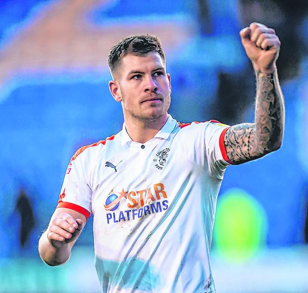 On the up: Striker James Collins is hoping Luton's push for promotion will further his claims for Ireland call-up. Photo: Getty Images