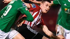 David Parkhouse of Derry City in action against Shane Griffin of Cork City