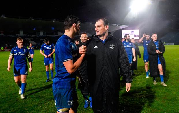 Max Deegan of Leinster, left, with Leinster captain Rhys Ruddock