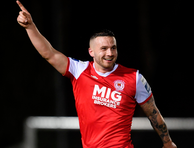 St Patrick's Athletic's Mikey Drennan celebrates his goal. Photo: Sportsfile