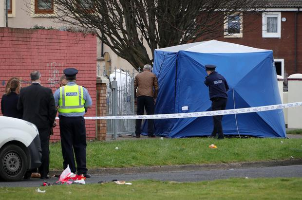 Bloodshed: The scene of the fatal shooting in Foxdene Avenue, Clondalkin, yesterday Photo: Colin Keegan