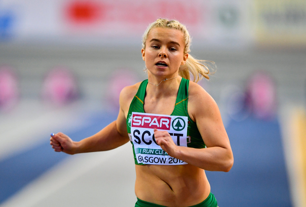 2 March 2019; Molly Scott of Ireland crosses the line in Women's 60m heat during day two of the European Indoor Athletics Championships at Emirates Arena in Glasgow, Scotland. Photo by Sam Barnes/Sportsfile