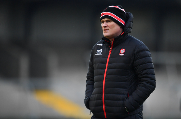 Derry manager Damian McErlain has led his side back to Division Three. Photo by Sam Barnes/Sportsfile