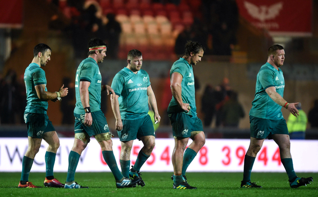 2 March 2019; Dejected Munster players following the Guinness PRO14 Round 17 match between Scarlets and Munster at Parc Y Scarlets in Llanelli, Wales. Photo by Ben Evans/Sportsfile
