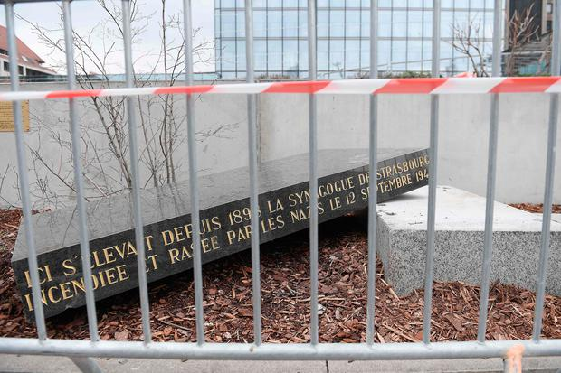 The memorial stone marking the site of Strasbourg's Old Synagogue, which was destroyed by the Nazis in World War II, is pictured after it was vandalised (Photo by FREDERICK FLORIN / AFP)FREDERICK FLORIN/AFP/Getty Images