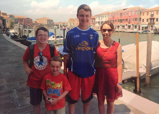 LOVING MOTHER: Clodagh with her sons Niall, Ryan and Liam on a family holiday