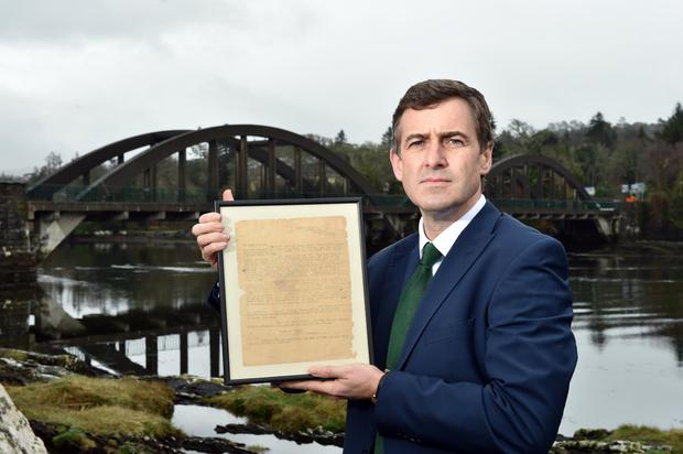 POIGNANT: Senator Mark Daly with his family letter from the Civil War. Picture: Don MacMonagle
