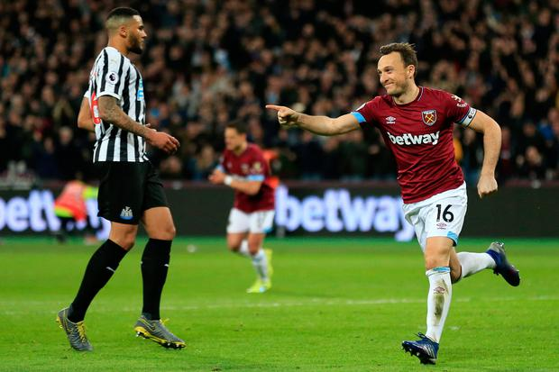 West Ham's Mark Noble celebrates scoring his side's second goal. Photo: Getty Images