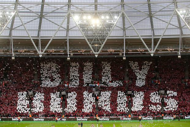West Ham United fans create a display for Billy Bonds. Photo: Getty Images