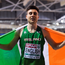 Mark English of Ireland celebrates after winning a bronze medal during the Men's 800m finals during day three of the European Indoor Athletics Championships at Emirates Arena in Glasgow, Scotland. Photo by Sam Barnes/Sportsfile