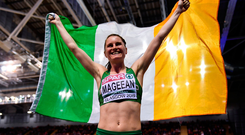 3 March 2019; Ciara Mageean of Ireland celebrates after winning a bronze medal in the Women's 1500m finals during day three of the European Indoor Athletics Championships at the Emirates Arena in Glasgow, Scotland. Photo by Sam Barnes/Sportsfile