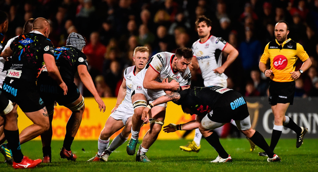 Ulster's Clive Ross is tackled by Oliviero Fabiani of Zebre. Photo: Oliver McVeigh/Sportsfile