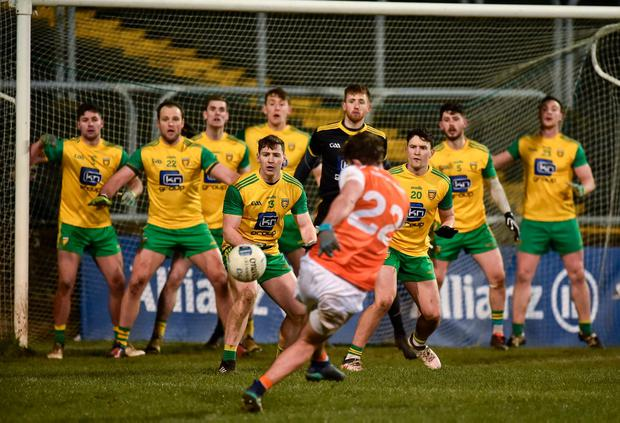 Ethan Rafferty of Armagh attempts to score a goal from a last minute free in Ballybofey. Photo: Oliver McVeigh/Sportsfile