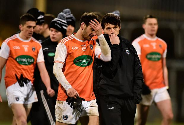 A disappointed Jamie Clarke, left, and James Morgan of Armagh following their defeat in Ballybofey, Donegal. Photo: Oliver McVeigh/Sportsfile