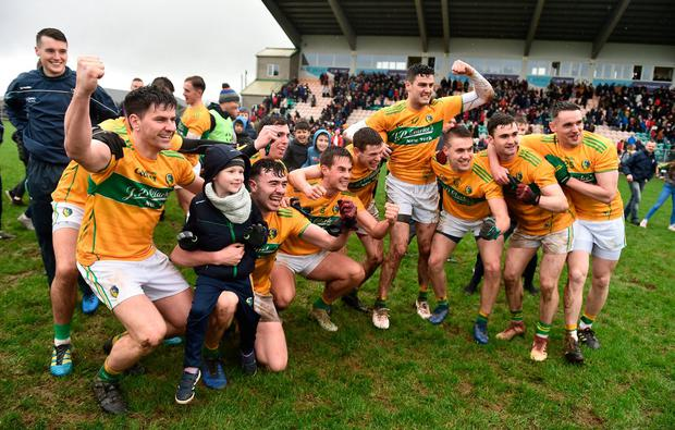 Leitrim players celebrate after clinching promotion to Division 3 with a win over London. Photo: Oliver McVeigh/Sportsfile