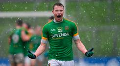 Barry Dardis of Meath, who scored the winning goal from an injury-time penalty, celebrates at the final whistle. Photo: Piaras Ó Mídheach/Sportsfile