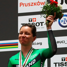Lydia Boylan celebrates winning silver medal in the women's points race at the World Championships. Photo: Dean Mouhtaropoulos/Getty Images