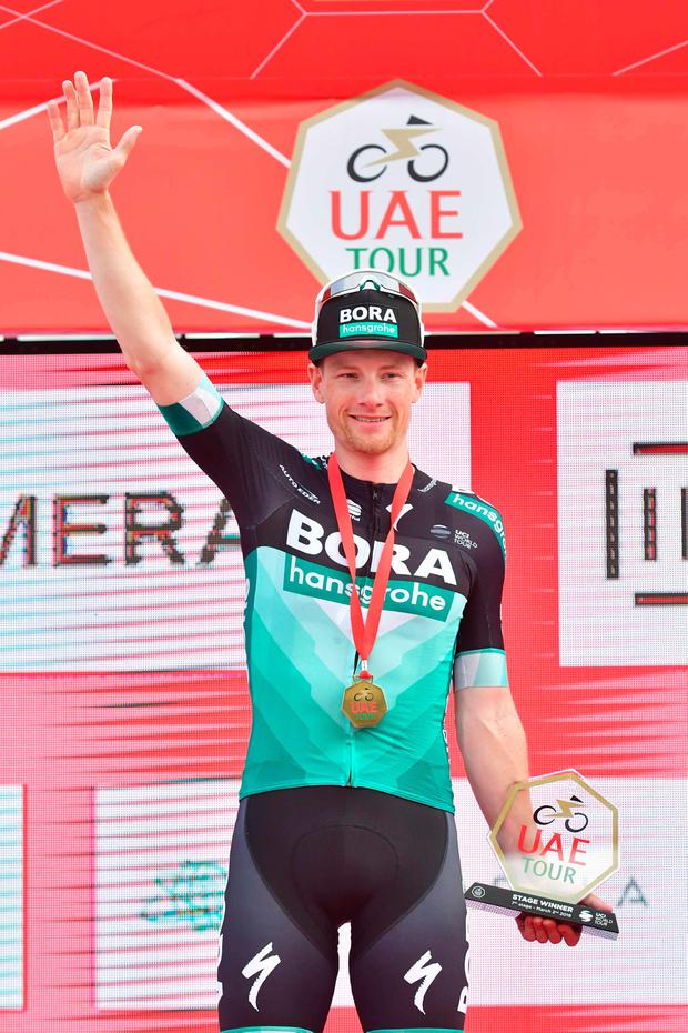 Sam Bennett's Saturday stage victory on the UAE tour. Photo: GIUSEPPE CACACE/AFP/Getty Images
