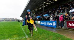 Groundsman John Nolan takes up the flags following the postponement of the Allianz Hurling League Division 1A Round 5 match between Wexford and Kilkenny at Innovate Wexford Park in Wexford. Photo: Matt Browne/Sportsfile