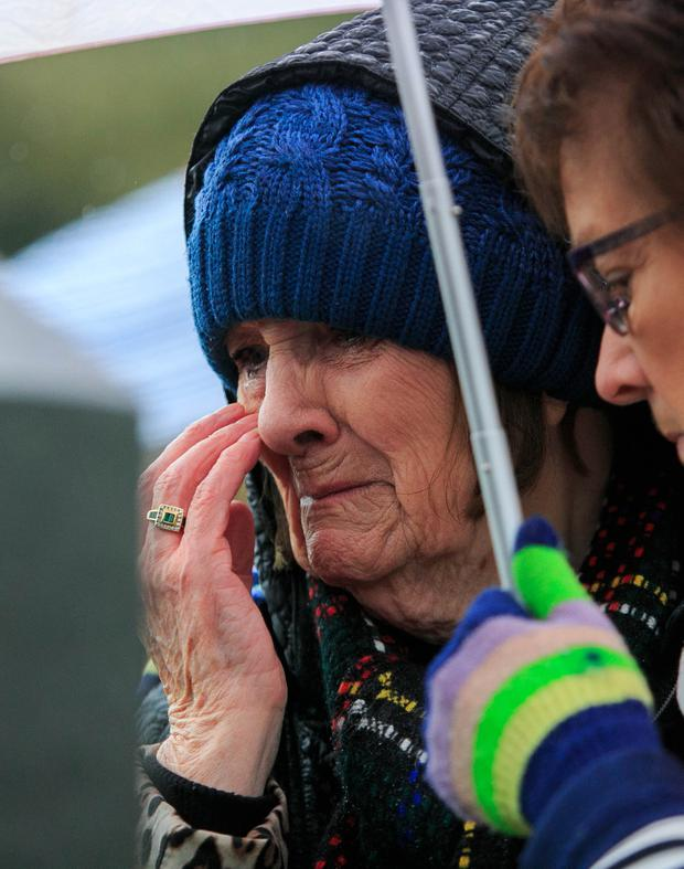 Emotional: Mary Merritt, who spent 14 years in High Park, sheds a tear at the annual Flowers for Magdalenes memorial in Glasnevin Cemetery. Photo: Gareth Chaney/Collins