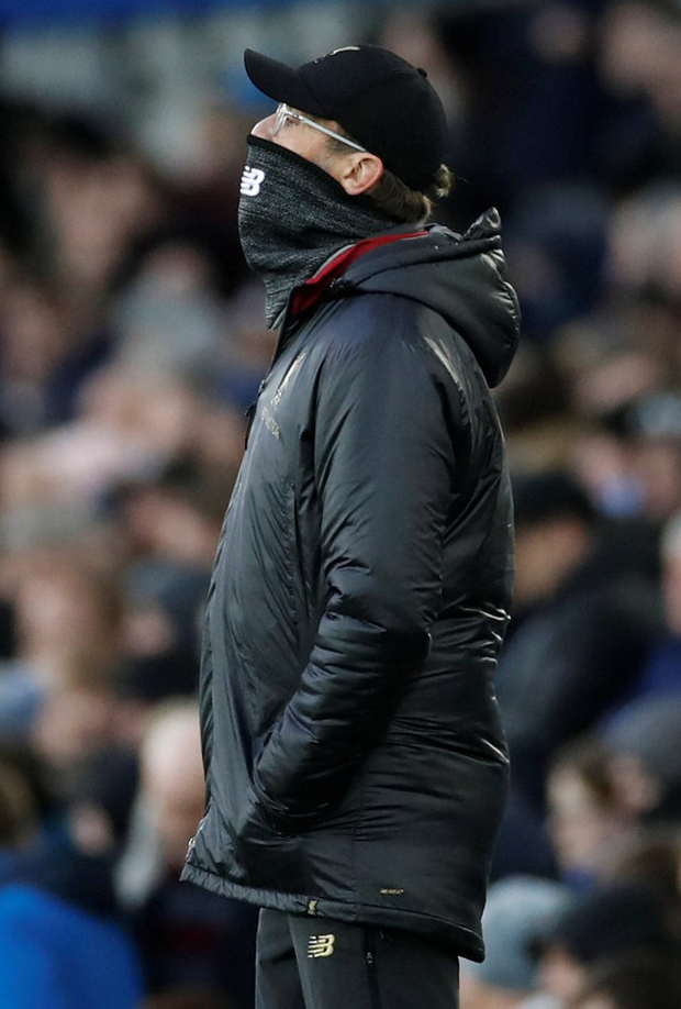 Jurgen Klopp feels an icy chill at Goodison Park as he watches Liverpool struggle. Photo: Reuters/Carl Recine