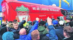 Reds alert: Everton fans make their feelings known as the Liverpool coach arrives at Goodison Park. Photo: Michael Regan/Getty Images