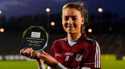 Galway's Áine McDonagh with her player of the match award following Galway's victory over Mayo in the Lidl Ladies NFL Division 1. Photo: Piaras Ó Mídheach/Sportsfile