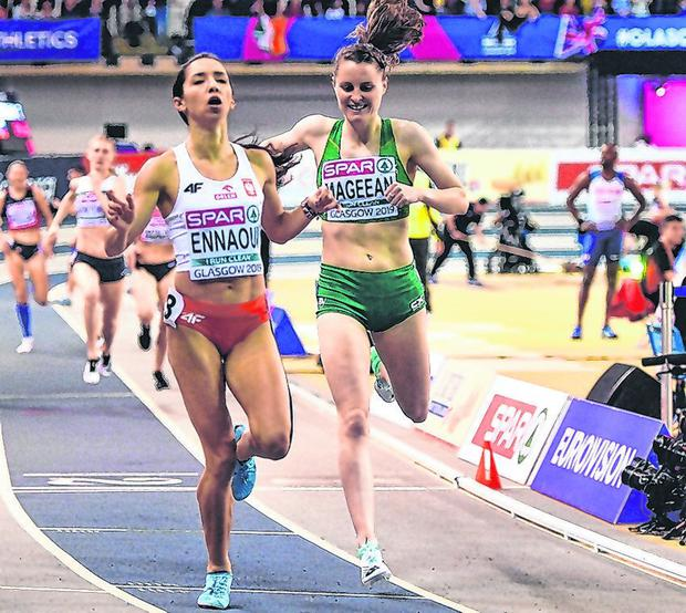 Ciara Mageean is pipped at the post by Poland's Sofia Ennaoui in the women's 1500m final. Photo: Sam Barnes/Sportsfile