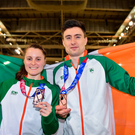 Ciara Mageean of Ireland, who won a bronze medal in the Women's 1500m finals, alongside teammate Mark English, who won a bronze medal in the Men's 800m finals
