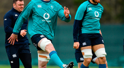 James Ryan, left, and Quinn Roux during Ireland Rugby squad training at Carton House in Maynooth, Kildare. Photo by Brendan Moran/Sportsfile