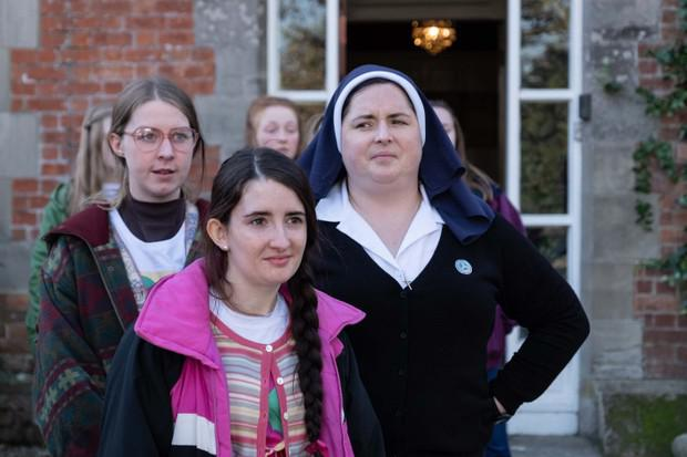 Jenny Joyce (Leah O'Rourke) and Sister Michael (Siobhan McSweeney) in Derry Girls, Channel 4