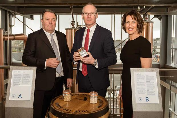 Michael Scully, Founder, Clonakilty Distillery. Simon Coveney, Helen Scully, Founder, Clonakilty Distillery.