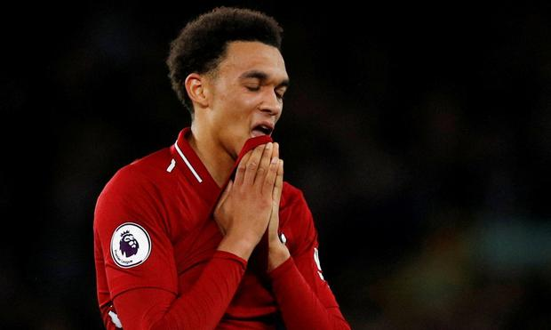 Liverpool's Trent Alexander-Arnold reacts after the match. REUTERS/Phil Noble