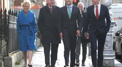 Minister Regina Doherty, Former SDLP leader Mark Durkan, Taoiseach Leo Varadkar and Tanaiste Simon Coveney arriving for a press conference in Dublin to announce Mark Durkan and Francis Fitzgerald will run for Fine Gael in the European Elections. Picture credit; Damien Eagers / INM