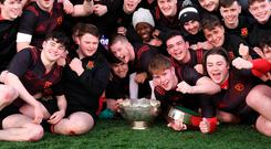 CBC Monkstown players celebrate with the cup. Photo: Piaras Ó Mídheach/Sportsfile