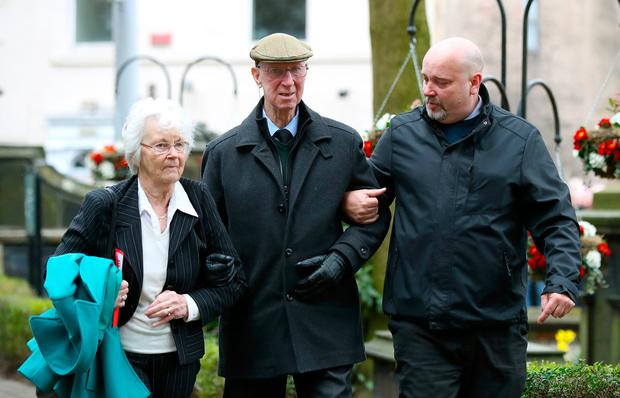 Paying his respects: Jack Charlton gets help as he and wife Pat Kemp arrive for the funeral of former England goalkeeper Gordon Banks in Stoke-on-Trent yesterday. Photo: PA Wire