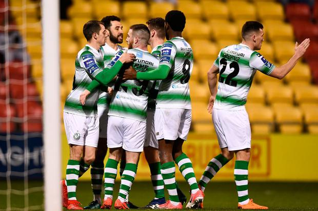 Roberto Lopes celebrates his goal with his Shamrock Rovers team-mates in last night's win over Finn Harps. Photo: Eóin Noonan/Sportsfile