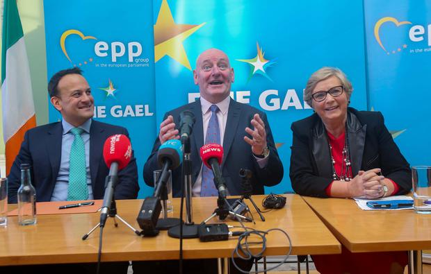 'Real me': From left is Leo Varadkar, former SDLP leader Mark Durkan and Francis Fitzgerald at the press conference. Photo: Gareth Chaney Collins