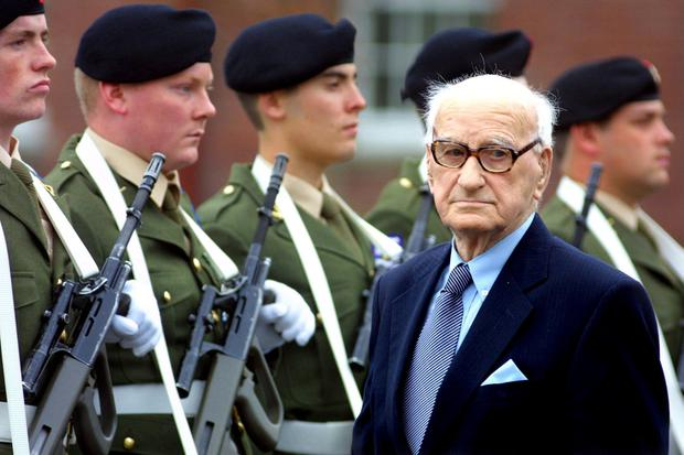 Historic: Sean Clancy, the last surviving veteran, who died in 2006, inspects a Fifth Battalion guard of honour on his 100th birthday in 2001. Picture: Maxpix