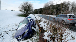 A car which went off the road during Storm Freya in Dunlavin, Co Wicklow. Photo: Niall Carson/PA Wire