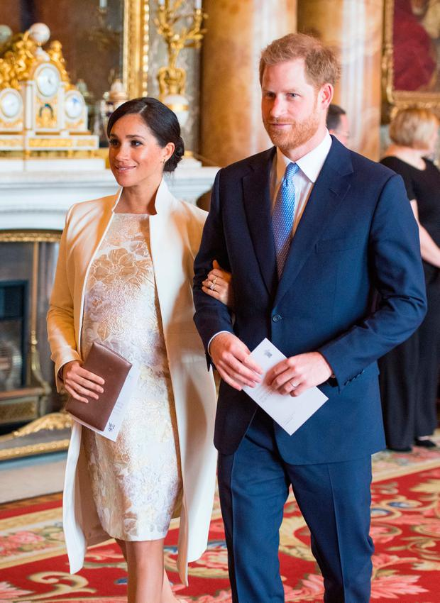 The Duke and Duchess of Sussex attend a reception at Buckingham Palace in London to mark the fiftieth anniversary of the investiture of the Prince of Wales