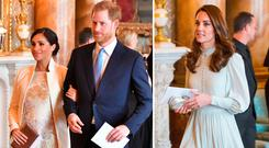Meghan Markle and Prince Harry, left, and Kate Middleton, right