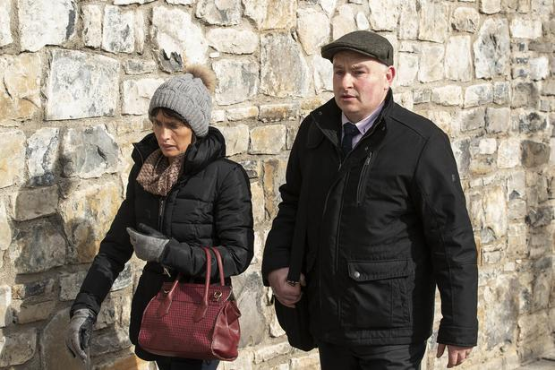 Murder trial: Patrick Quirke (50) leaving court yesterday with his wife, Imelda