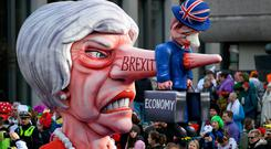 British Prime Minister Theresa May is depicted in a carnival float in Duesseldorf, western Germany. Photo: Getty Images