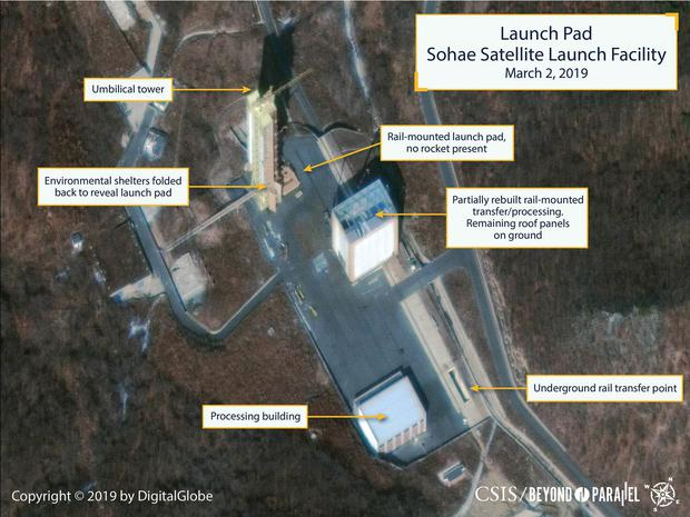 The Sohae Satellite Launching Station launch pad features what researchers of Beyond Parallel, a CSIS project, describe as showing the partially rebuilt rail-mounted rocket transfer structure in a commercial satellite image taken over Tongchang-ri, North Korea on March 2, 2019 and released March 5, 2019. CSIS/Beyond Parallel/DigitalGlobe 2019 via REUTERS