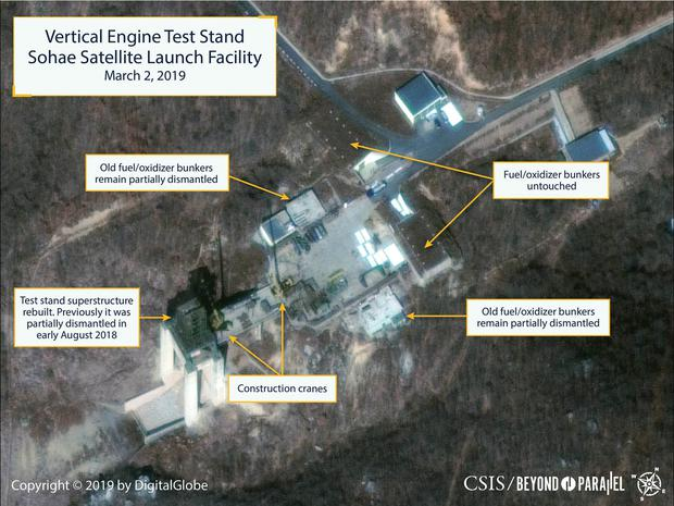 The Sohae Satellite Launching Station features what researchers of Beyond Parallel, a CSIS project, describe as the vertical engine stand partially rebuilt with two construction cranes, several vehicles and supplies laying on the ground in a commercial satellite image taken over Tongchang-ri, North Korea on March 2, 2019 and released March 5, 2019. CSIS/Beyond Parallel/DigitalGlobe 2019 via REUTERS