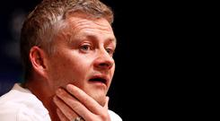 Manchester United interim manager Ole Gunnar Solskjaer during a press conference. Action Images via Reuters/John Sibley